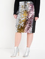 Studio Variegated Sequin Pencil Skirt Silver + Gold + Pink