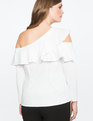 Asymmetric One Shoulder Ruffle Top TRUE WHITE