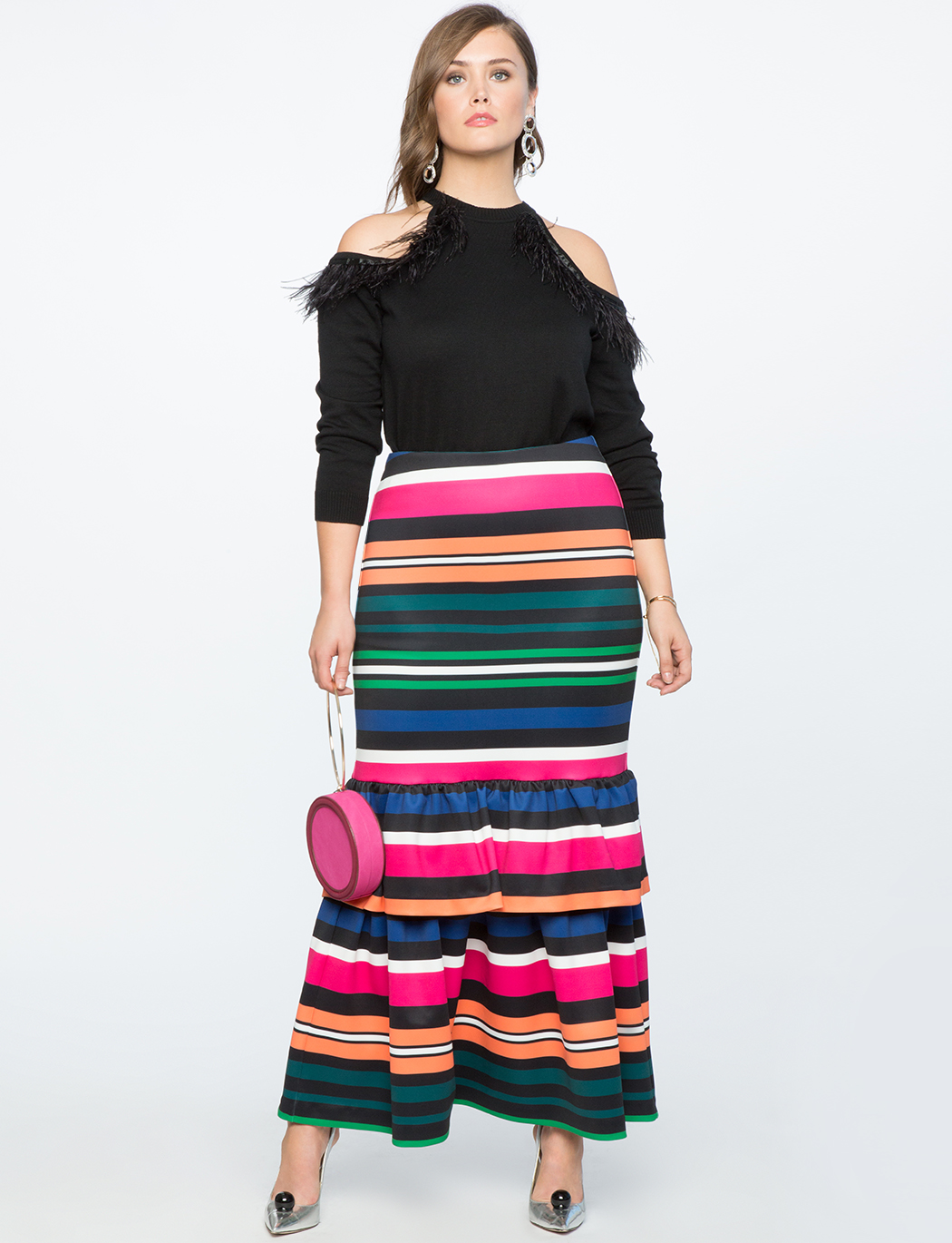 Trumpet Maxi Skirt with Ruffle