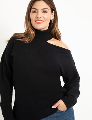 ELOQUII Elements High Neck Cold Shoulder Sweater