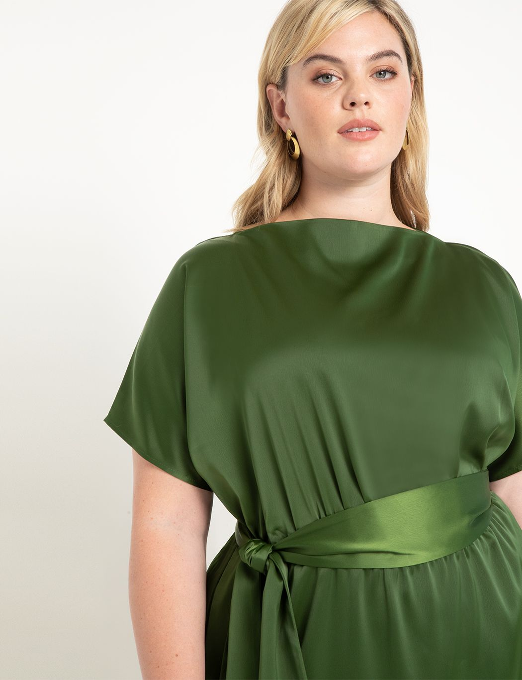 Boat Neck Long Satin Dress