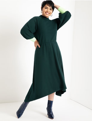 Mock Neck Dress with Ribbed Cuff
