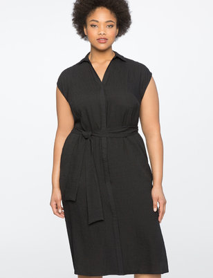 Sleeveless Shirt Dress with Tie