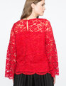 Lace Flare Sleeve Top RED