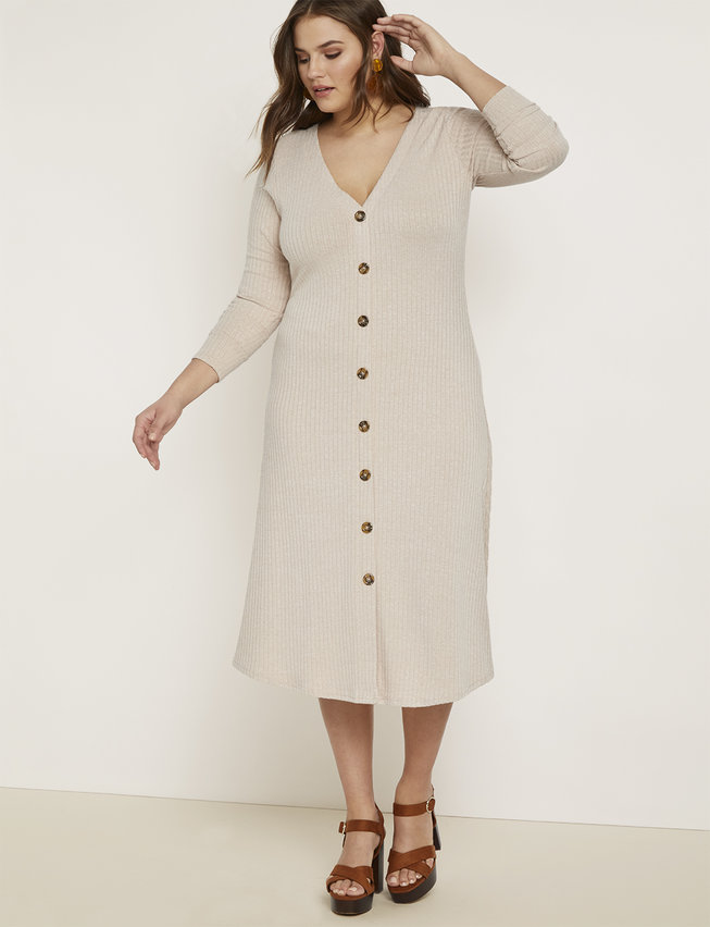 Long Sleeve Button Front Dress