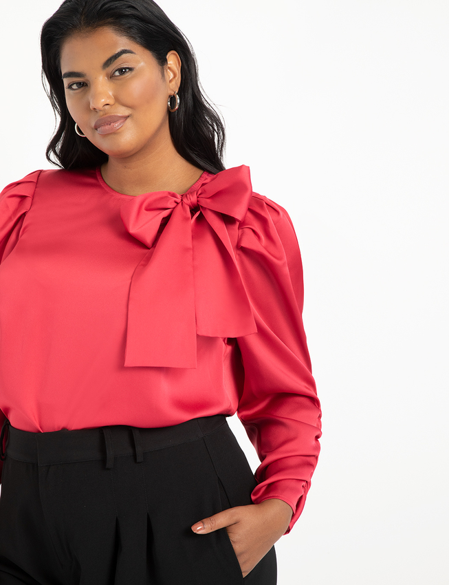 Shirred Sleeve Top with Bow