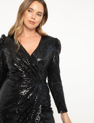 Sequin Wrap Skirt Dress