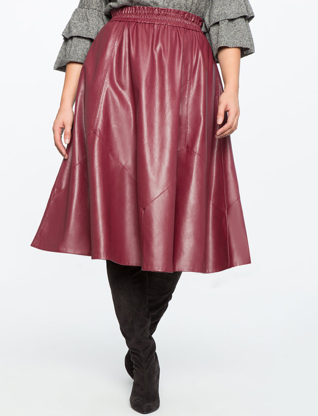 Studio Ruffle Waist Faux Leather Skirt