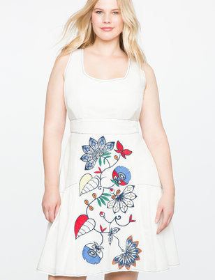 Embroidered Skirt Fit and Flare Dress