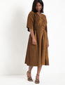 Full Kimono Sleeve Dress With Twist Detail Bronze