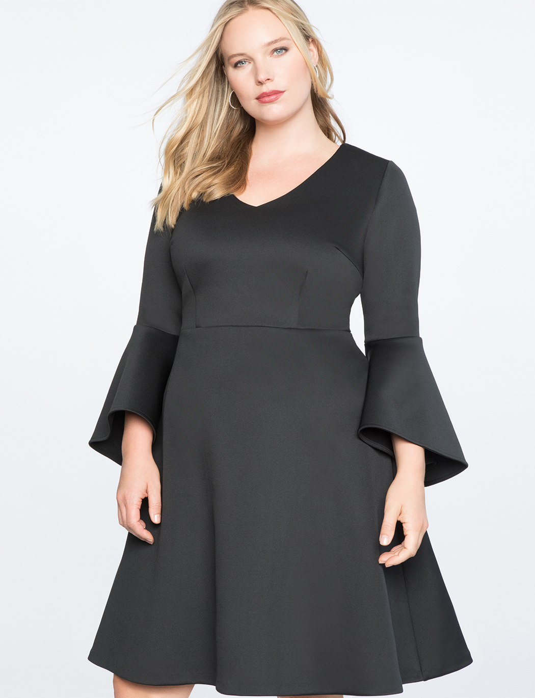 Flare Sleeve Fit and Flare Dress