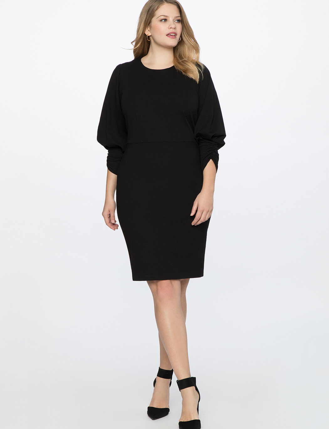 Drama Sleeve Ruched Front Dress