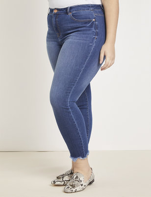 Crop Destructed Hem Jean