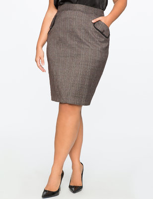 Plaid Pencil Skirt with Piping