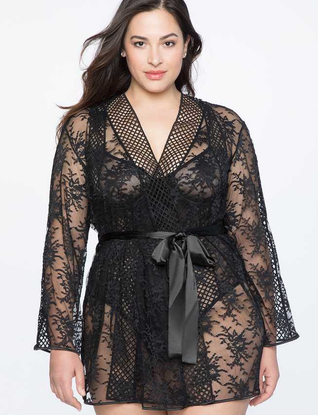 Lace Robe with Lattice Trim