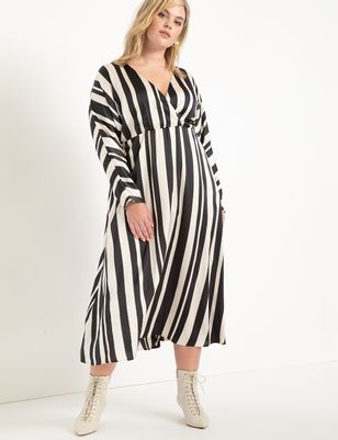 Surplice Bodice Striped Dress