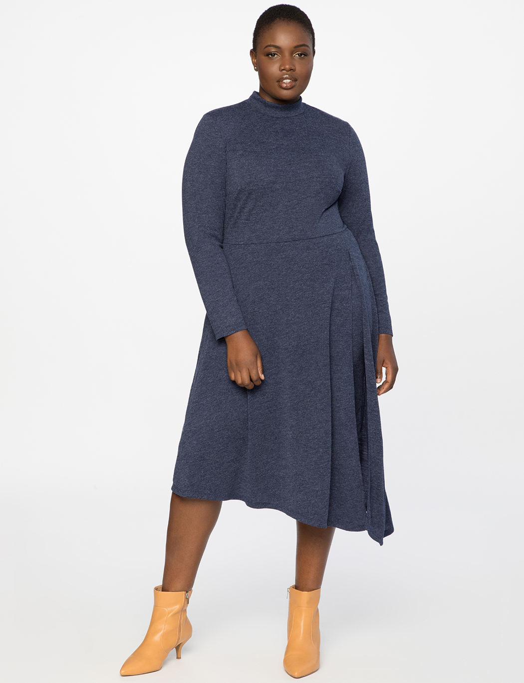 Asymmetrical Turtleneck Dress with Slit 2