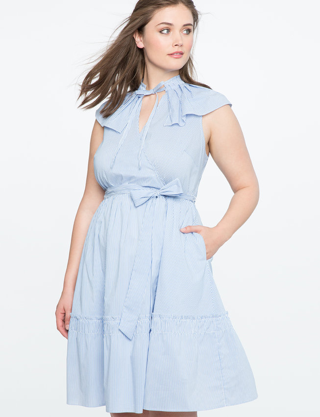 Fit and Flare Dress with Pleated Collar
