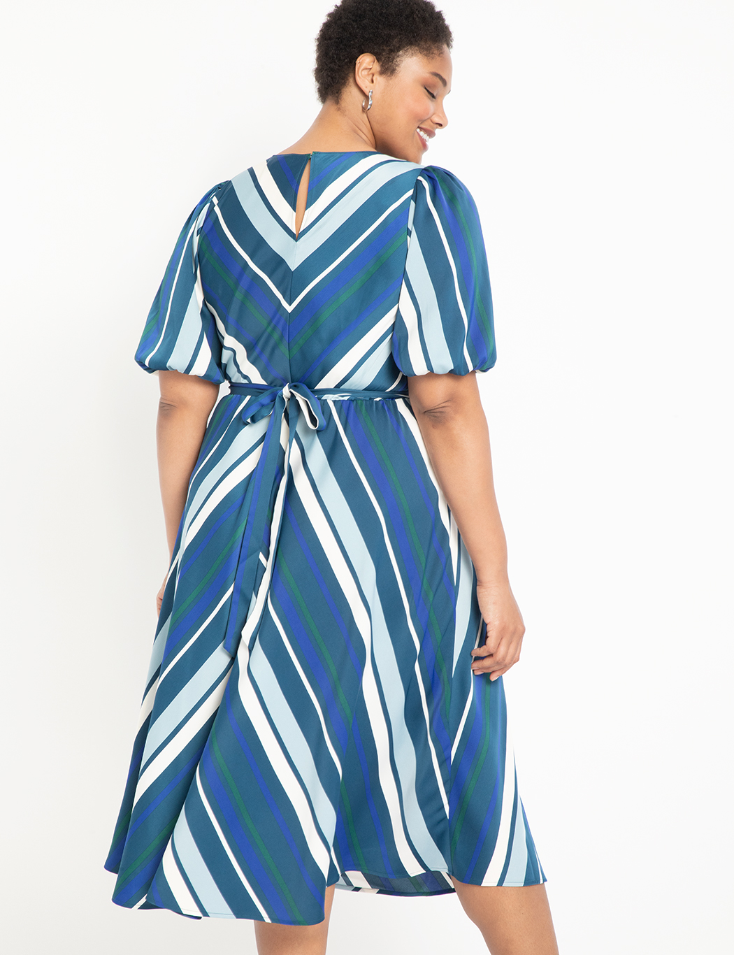 Puff Sleeve Striped Dress