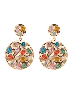 Inset Jeweled Circle Drop Earrings