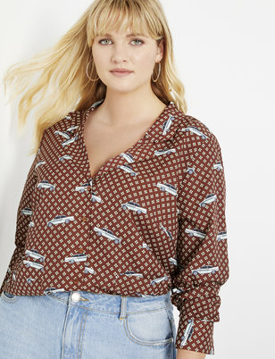 Notch Collar Printed Blouse