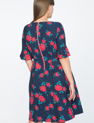 Draper James for ELOQUII Floral Print Fit and Flare Dress
