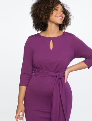 Tie Waist Dress with Keyhole Neckline