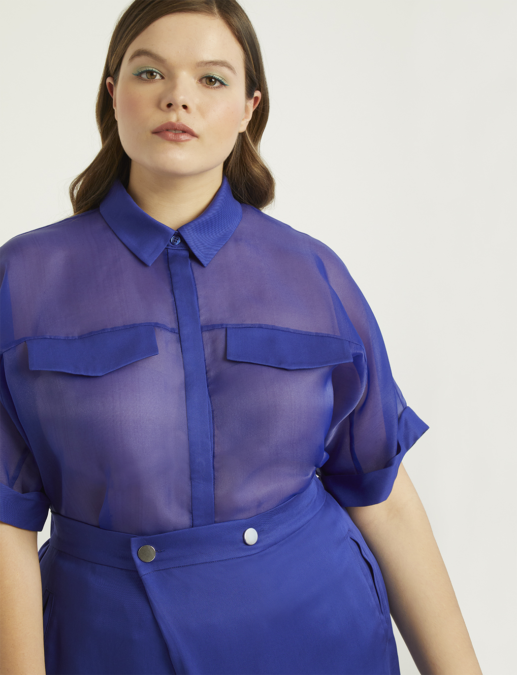 Priscilla Ono x ELOQUII Sheer Collared Shirt