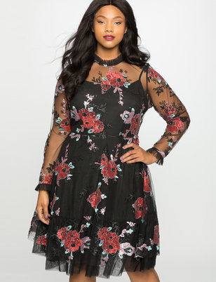 Embroidered Tulle Fit and Flare Dress