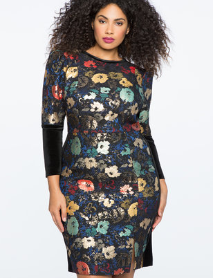 Puff Sleeve Jacquard Dress with Velvet Cuff Detail