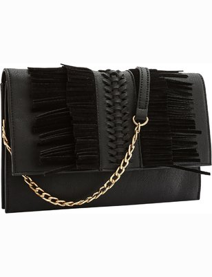 Faux Suede Fringe Clutch
