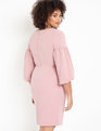 Puff Sleeve Bodycon Dress Pink