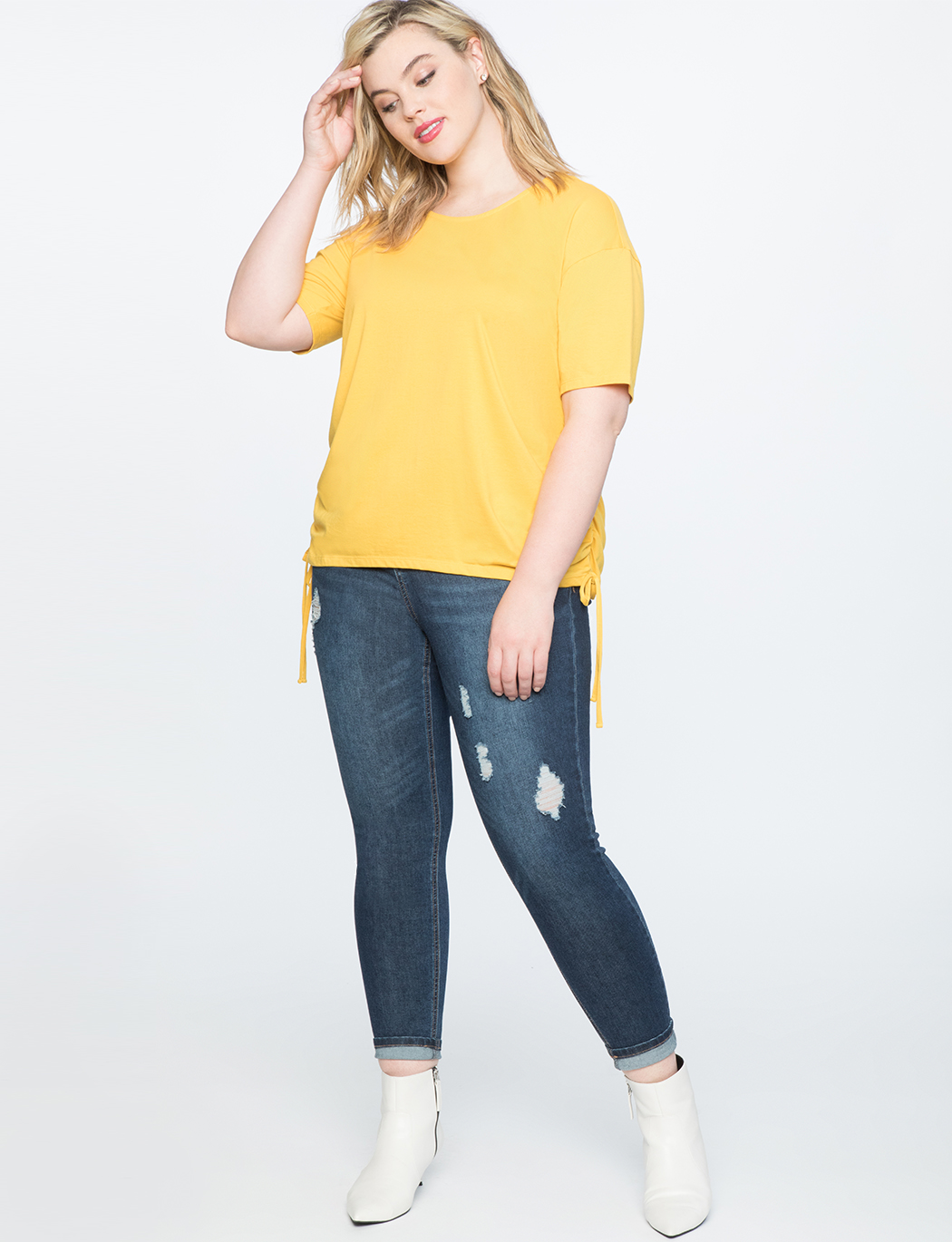 Drawstring Side Tie Tee