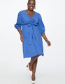 Cinched Front Fit and Flare Dress Bright Cobalt