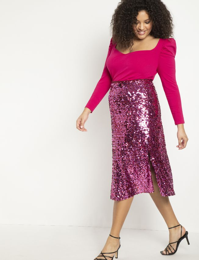 Sequin Skirt with Slits