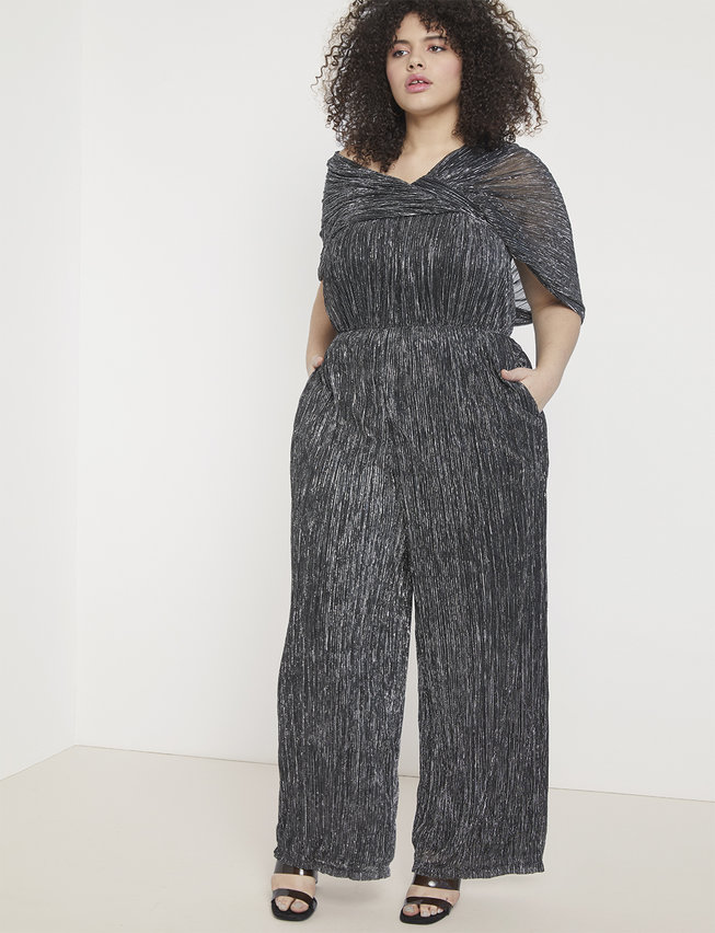 Shimmer Tiered Leg Jumpsuit Black with Silver