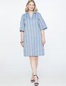Embroidered Flare Sleeve Collared Dress Blue/White Jacquard