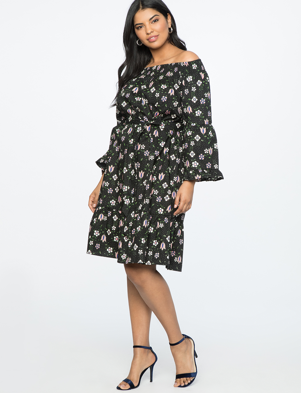 Printed Flare Sleeve Dress