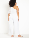 One Shoulder Jumpsuit with Lace Soft White