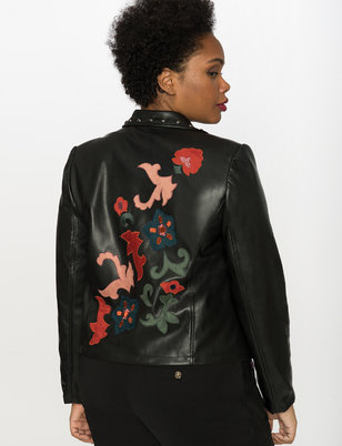 Studio Applique Faux Leather Moto Jacket