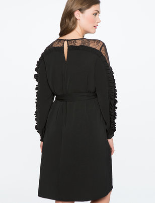 Lace Overlay Ruffle Sleeve Dress
