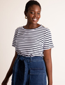 Button Shoulder Tee Navy + White Stripe