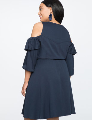Cold Shoulder Fit and Flare Dress