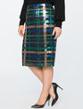Plaid Sequin Pencil Skirt Plaid Sequin
