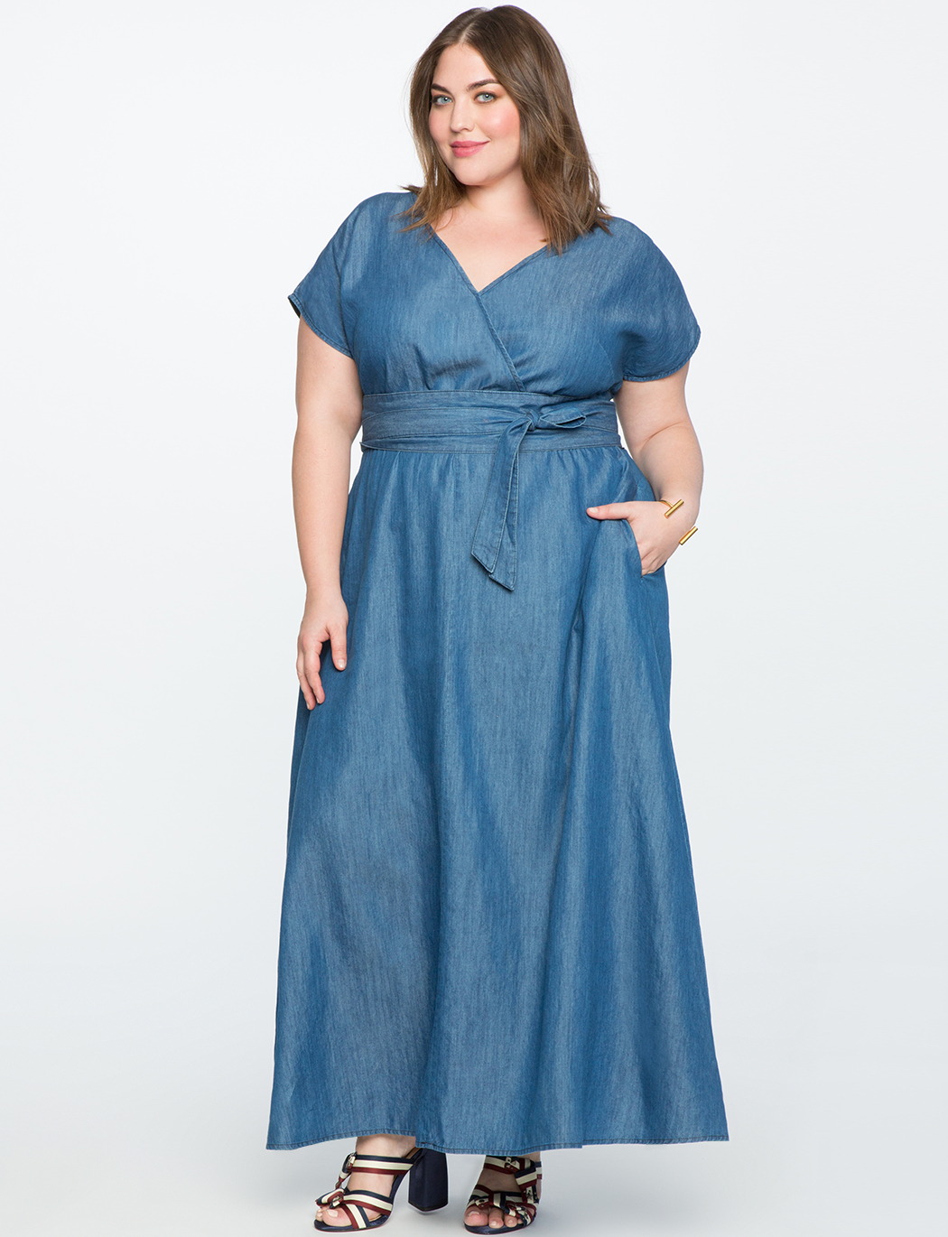 11e28274 Chambray Wrap Maxi Dress | Women's Plus Size Dresses | ELOQUII
