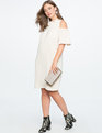 Cold Shoulder Tie Neck Dress SMOKY CREAM