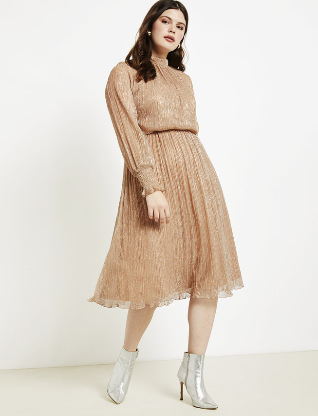 Puff Sleeve Gathered Waist Dress
