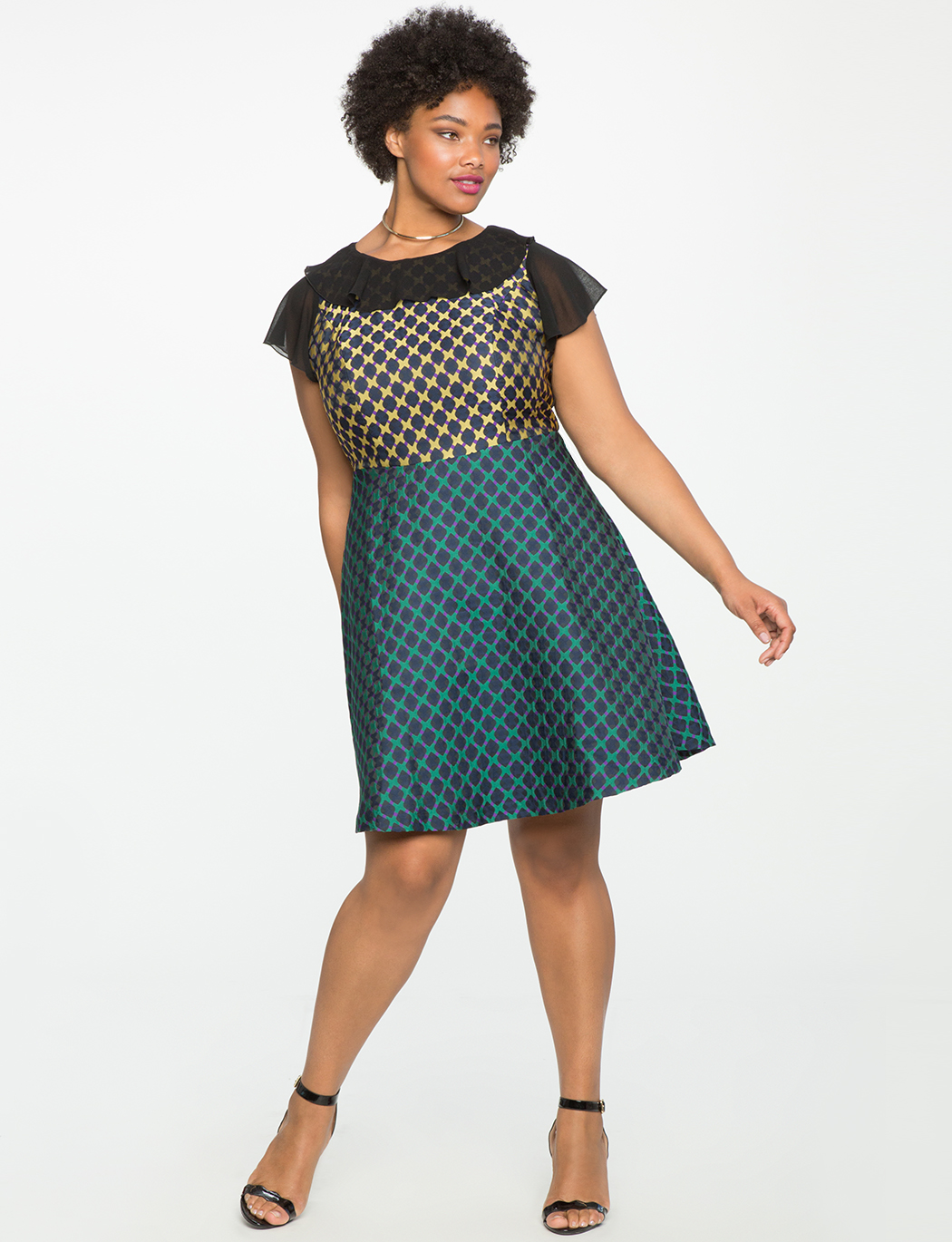 Studio Mixed Jacquard Fit & Flare Dress