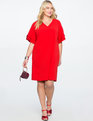 Layered Flutter Sleeve Easy Tee Dress ENGINE RED