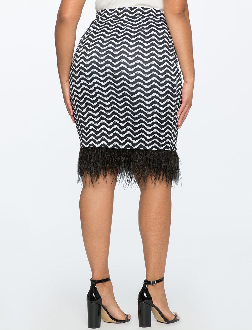 Printed Skirt with Feather Hem